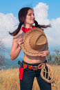 Free Girl Cowboy In The Field With  Hat On  Chest Stock Photos - 16283323