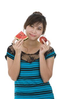 Woman With Water Melon And Apple Stock Images