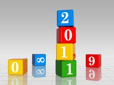 Colour Cubes With 2011 With 8,9 And 0, Reflection Stock Photography