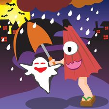 Free Halloween Japanese Umbrella Royalty Free Stock Images - 16281079