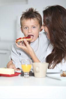 Free Mother And Son Having Breakfast Stock Images - 16281814