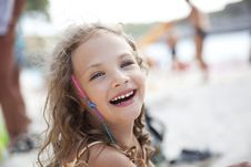 Free Laughing Little Girl On A Beach Stock Photos - 16282163