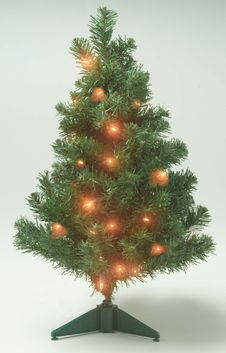 Free Illuminated Artificial Christmas Tree Royalty Free Stock Photos - 16283208
