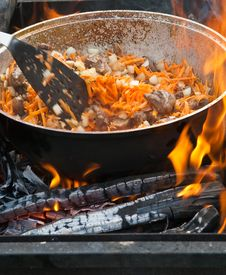 Cooking On Open Fire Stock Images