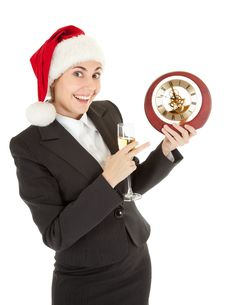 Free Business Girl In Santa Hat And With Champagne Stock Photography - 16283722