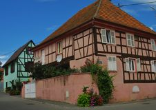 Traditional Alsace Houses Royalty Free Stock Photography