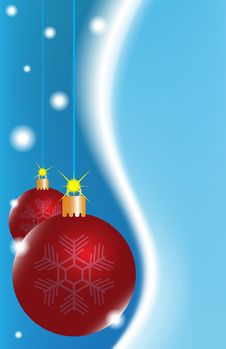 Free Two Red Christmas Ball On A Blue Background Stock Image - 16284661