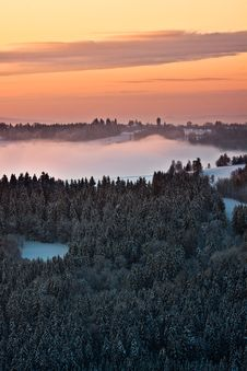 Winter Misty Sunrise Royalty Free Stock Images