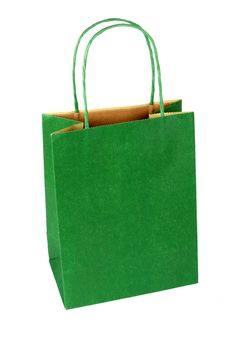 Green Gift Bag On White Royalty Free Stock Photography