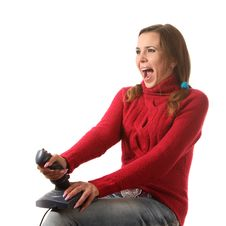 Girl With A Joystick Stock Photography