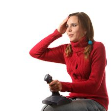 Girl With A Joystick Stock Images
