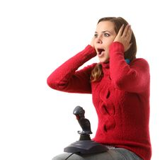Free Girl With A Joystick Royalty Free Stock Photo - 16287075