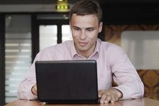 Free Attractive Man With A Smile Work On Laptop Stock Images - 16287084