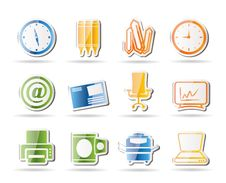 Business And Office Tools Icons Royalty Free Stock Photos