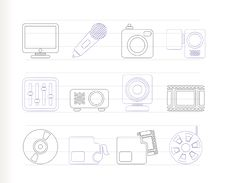 Free Media Equipment Icons Stock Images - 16287514