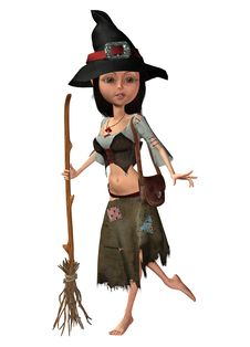 Free Toon Witch With A Broom Royalty Free Stock Photos - 16288638