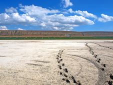 Free Footprints On The Salt Lake. Koktebel. Ukraine Stock Photo - 16289550