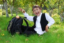 Free Schoolboy With Backpack And Apple Stock Photo - 16289970