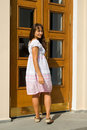 Free Attractive  Girl Entering The Door Royalty Free Stock Image - 16291656