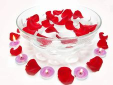 Free Spa Candles Rose Flowers Royalty Free Stock Photography - 16290037