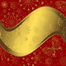 Free Red And Golden Christmas Frame Royalty Free Stock Images - 16290229