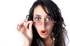 Free Surprised Young Lady In Glasses Stock Images - 16290554