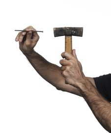Free Hand Holding A Hammer Stock Image - 16290611