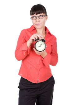 Free Woman With Clock Royalty Free Stock Image - 16290986