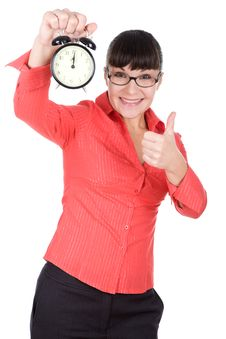 Free Woman With Clock Royalty Free Stock Photography - 16290987