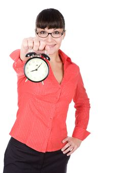 Free Woman With Clock Stock Photography - 16291002