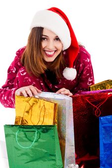 Free Young Lady With Christmas Gifts Royalty Free Stock Images - 16291219