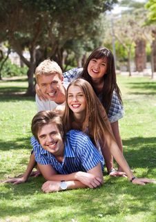 Beautiful Group Of Friends At The Park Royalty Free Stock Images