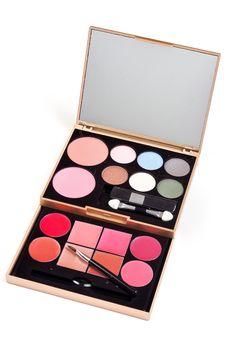 Eyeshadows Set With Brush Stock Photo