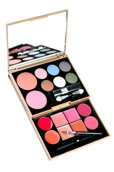 Eyeshadows Set With Brush Royalty Free Stock Images