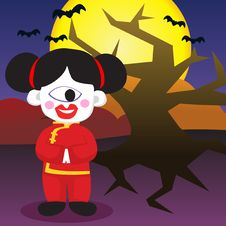 Free Halloween Traditional Chinese Girl Royalty Free Stock Photo - 16291985