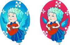 Free Cute Angel With Red Heart Royalty Free Stock Images - 16292079