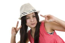 Free Woman With Victory/peace Sign Stock Image - 16292441