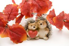 Hedgehog Pair With Heart Royalty Free Stock Photo