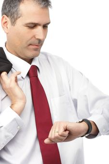 Businessman Showing Time On His Watch Stock Photography