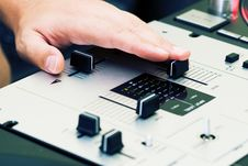 Free Hand Of A Dj Adjusting The Crossfader Royalty Free Stock Image - 16294556