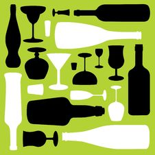 Bottles And Glasses Pattern Stock Photography