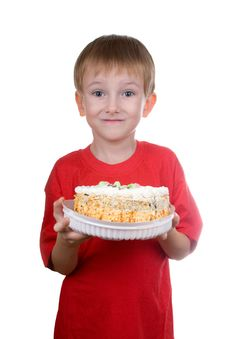 Happy Boy With A Cake Stock Photo