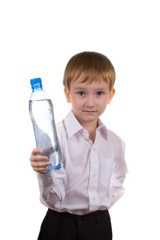 Free Happy Boy With A Bottle Of Water Stock Photography - 16296882