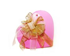 Free Pink Box With A Gold Bow Royalty Free Stock Photos - 16297138