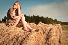 Free Girl On The Stack Royalty Free Stock Image - 16297606