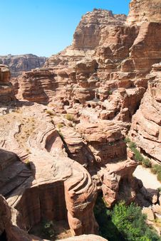 Free Striking View Of Fertile Wadi Siyagh, Petra, Jorda Stock Photo - 16298380