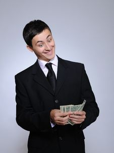 Expressions.Young Handsome Business Man With Money Stock Photography
