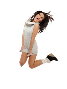 Free Expressions.Beautiful Funny Winter Woman Jumping Stock Photos - 16298593