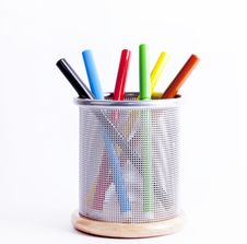 Free Black Pencil Cup Filled With Colorful Pencils. Stock Images - 16298904