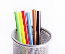 Free Black Pencil Cup Filled With Colorful Pencils. Stock Images - 16298914
